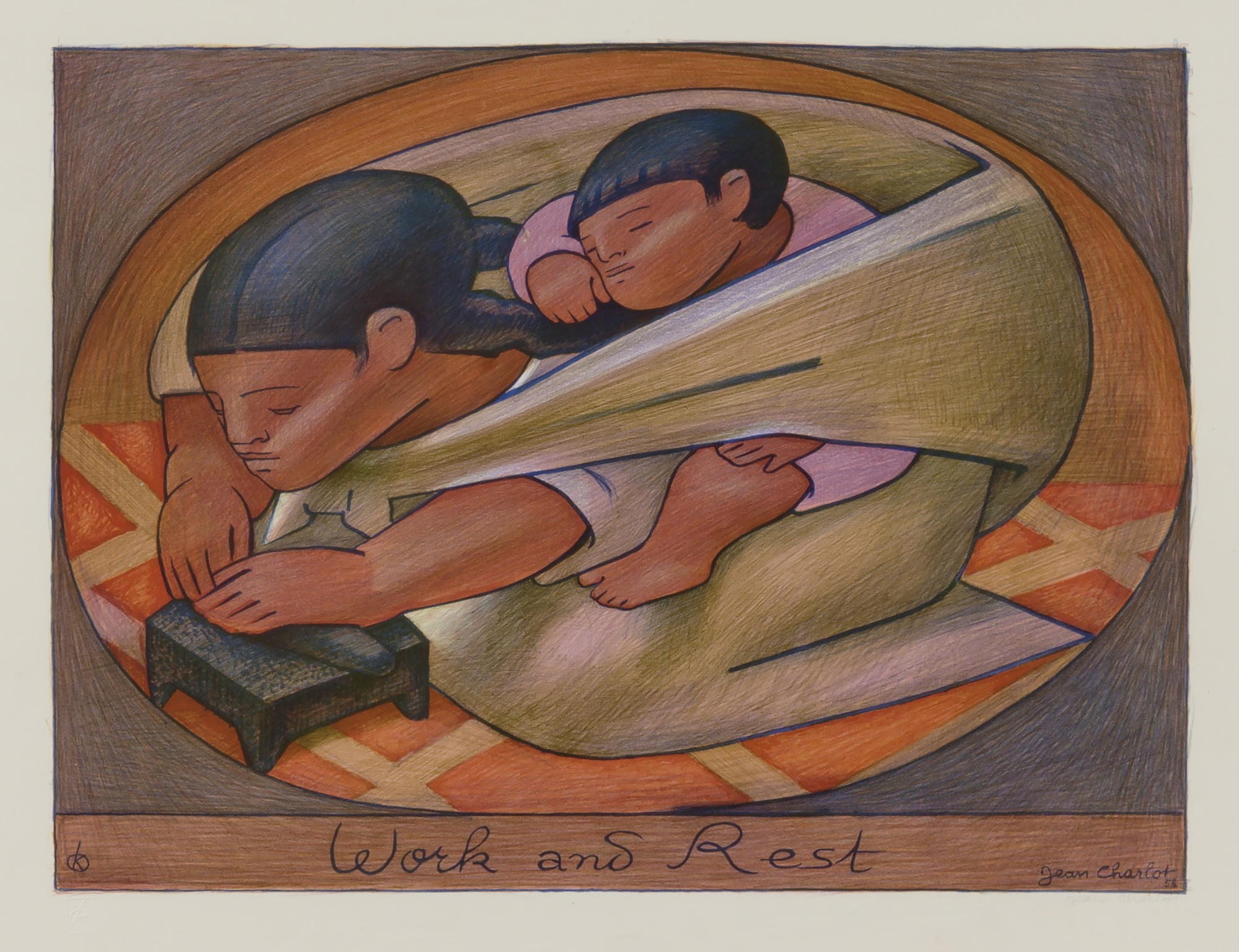 """Jean Charlot, """"Work and Rest"""", 1956, color lithograph, Smithsonian American Art Museum"""